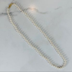 """Vintage Pearl Necklace 25"""" long ?glass beads"""